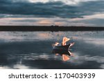 white paper boat on fire... | Shutterstock . vector #1170403939