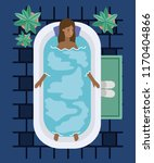 black woman taking a bath tub | Shutterstock .eps vector #1170404866