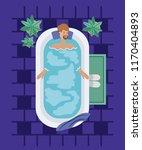 man with beard taking a bath tub | Shutterstock .eps vector #1170404893