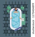 man with beard taking a bath tub | Shutterstock .eps vector #1170404899