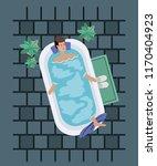man taking a bath tub | Shutterstock .eps vector #1170404923