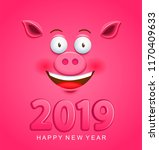 cute greeting card for 2019 new ... | Shutterstock .eps vector #1170409633