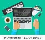 musician workspace studio... | Shutterstock .eps vector #1170410413
