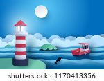 paper art of lighthouse and... | Shutterstock .eps vector #1170413356