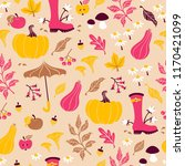 seamless autumn pattern with... | Shutterstock .eps vector #1170421099