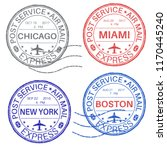 postmarks. collection of ink... | Shutterstock . vector #1170445240