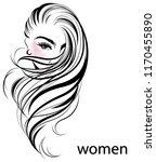 illustration of women long hair ... | Shutterstock .eps vector #1170455890
