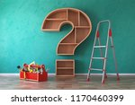 toolbox with tools  ladder and... | Shutterstock . vector #1170460399