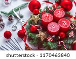 advent wreath with baubles and... | Shutterstock . vector #1170463840