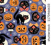 Stock vector vintage spooky cats and halloween pumpkins seamless vector pattern on purple background 1170466633