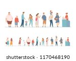 people waiting in long queue at ... | Shutterstock .eps vector #1170468190