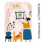 cute family card. vector hand... | Shutterstock .eps vector #1170468916