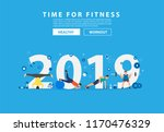 2019 new year fitness concept... | Shutterstock .eps vector #1170476329