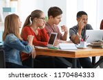 group of teenagers doing... | Shutterstock . vector #1170484333