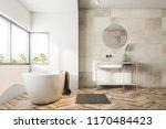 bathroom interior with beige... | Shutterstock . vector #1170484423