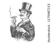 elegant gentleman in top hat... | Shutterstock .eps vector #1170487213
