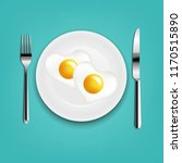 plate with fried eggs heart...   Shutterstock .eps vector #1170515890