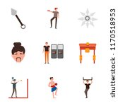 set of 9 simple icons such as... | Shutterstock .eps vector #1170518953