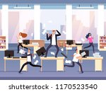 angry boss. chaos in office... | Shutterstock .eps vector #1170523540