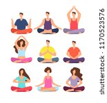 meditation people. woman and... | Shutterstock .eps vector #1170523576