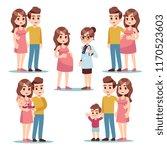 happy pregnancy. pregnant woman ... | Shutterstock .eps vector #1170523603