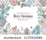 Stock vector christmas vintage invitation winter fir pine branches pinecones floral border christmas xmas 1170524080