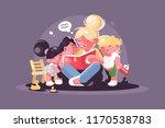 mom reads fairy tale for kids.... | Shutterstock .eps vector #1170538783