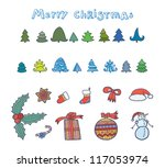 beautiful cartoon christmas set ... | Shutterstock .eps vector #117053974