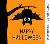happy halloween. bat hanging on ... | Shutterstock .eps vector #1170542353
