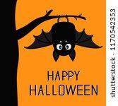 happy halloween. bat hanging on ... | Shutterstock .eps vector #1170542353