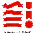 red ribbons set | Shutterstock .eps vector #117054649