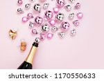 champagne bottle with pink and... | Shutterstock . vector #1170550633