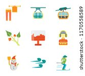 set of 9 simple icons such as... | Shutterstock .eps vector #1170558589
