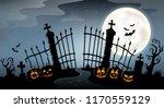 cemetery gate silhouette theme... | Shutterstock .eps vector #1170559129