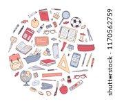 school supplies arranged into... | Shutterstock .eps vector #1170562759