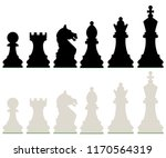 row of black and white chess... | Shutterstock .eps vector #1170564319