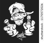 monkey in cap holding a spray... | Shutterstock .eps vector #1170572026