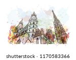 landmark building view of... | Shutterstock .eps vector #1170583366