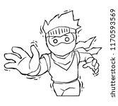 ninja boy petrified curse bw.  | Shutterstock .eps vector #1170593569