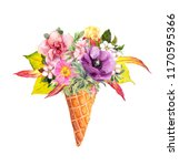 floral bouquet in ice cream... | Shutterstock . vector #1170595366