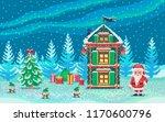 pixel art scene with santa... | Shutterstock .eps vector #1170600796