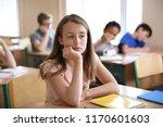 Sad Girl Sitting In Classroom....