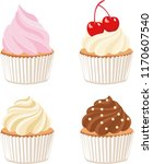 set of cute raster cupcakes and ... | Shutterstock . vector #1170607540