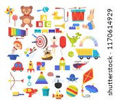 baby toy set. cute funny toys... | Shutterstock .eps vector #1170614929