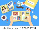 photo album with family photos. ... | Shutterstock .eps vector #1170614983