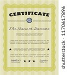 yellow certificate of... | Shutterstock .eps vector #1170617896