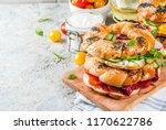 variety of homemade bagels... | Shutterstock . vector #1170622786