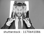 happy face of bearded hipster... | Shutterstock . vector #1170641086