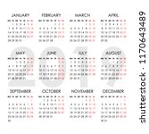calendar for 2019 year isolated ... | Shutterstock .eps vector #1170643489