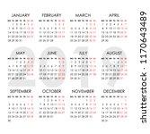 calendar for 2019 year isolated ... | Shutterstock .eps vector #1170643489